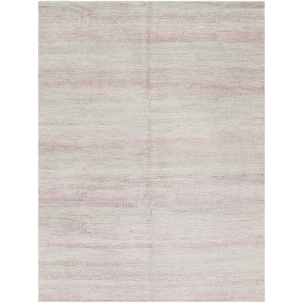 Hand-Knotted 7.10' x 10' Silver/Pink Area Rug