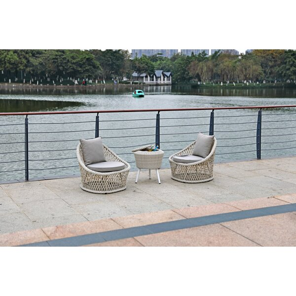 Patty 3 Piece Rattan 2 Person Seating Group with Cushions by Bungalow Rose