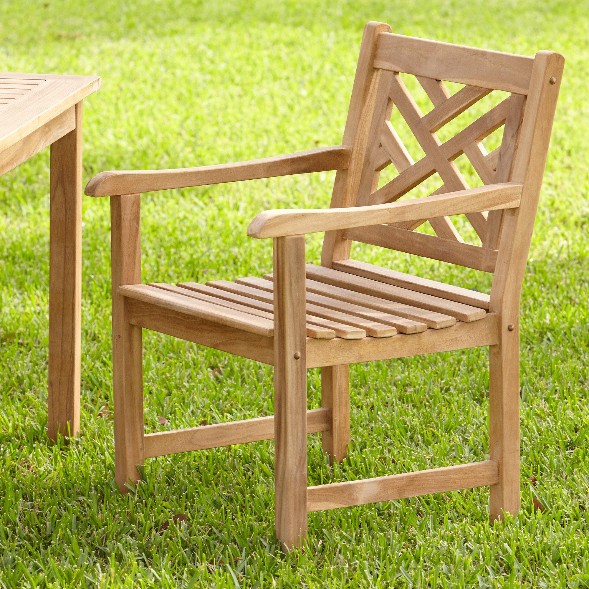 Birch Lane™ Summerton Lattice Back Teak Patio Dining Chair U0026 Reviews    Birch Lane