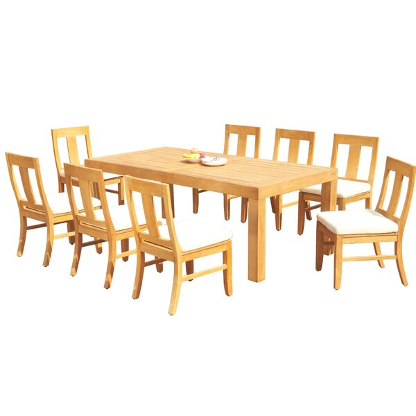 Ludlow 9 Piece Teak Dining Set by Rosecliff Heights