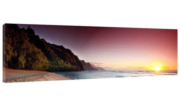 Kee Beach Sunset Photographic Print on Wrapped Canvas by Colossal Images