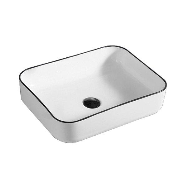 Above Ceramic Rectangular Vessel Bathroom Sink by Hometure