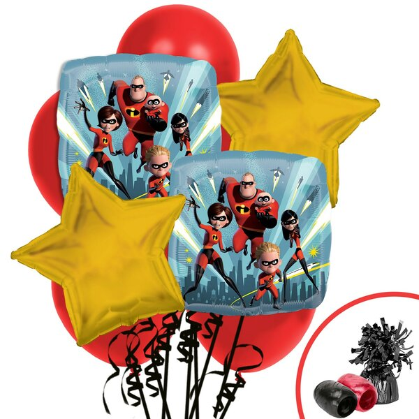 13 Piece The Incredibles 2 Balloon Bouquet Plastic Disposable Centerpiece Set [NA]
