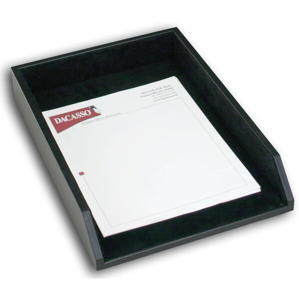1000 Series Classic Leather Front-Load Legal Tray in Black by Dacasso