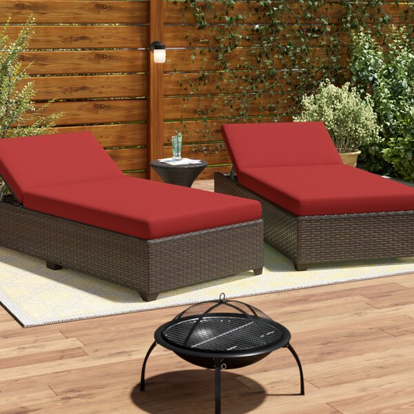 Tegan Reclining Chaise Lounge with Cushion by Sol 72 Outdoor Sol 72 Outdoor