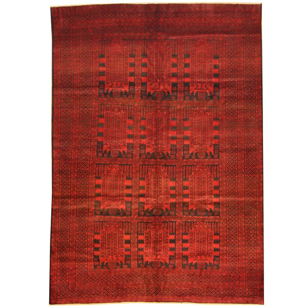 Prentice Hand-Knotted Red/Black Area Rug by Isabelline