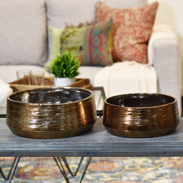 Round 2-Piece Ceramic Pot Planter Set by Urban Trends