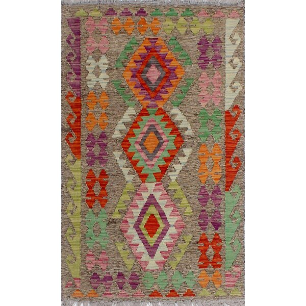 Corda Hand-Knotted Wool Azure/Red Area Rug by Bungalow Rose