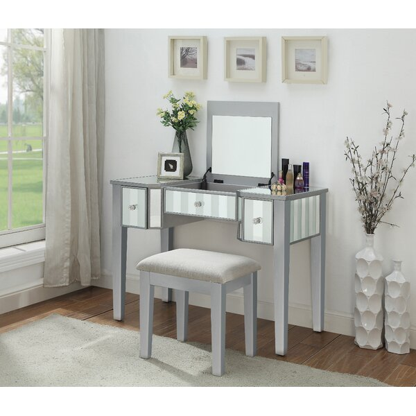 Emiliano Vanity Set with Mirror by Rosdorf Park