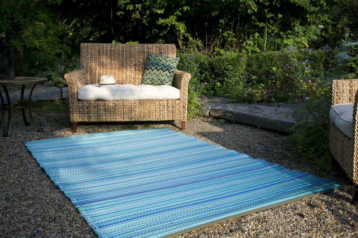 Beachcrest Home Marianne Turquoise/Moss Green Stripe Indoor/Outdoor ...