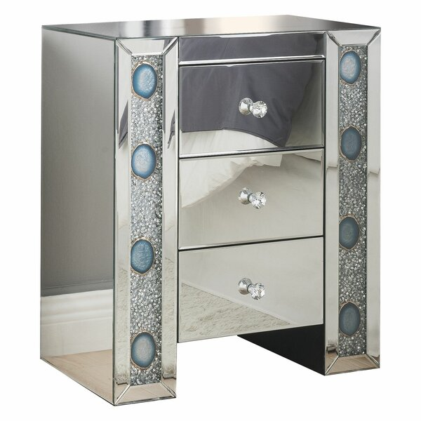 Kimana Mirrored 3 Drawer Nightstand by House of Hampton