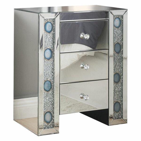 Kimana Mirrored 3 Drawer Nightstand by House of Hampton