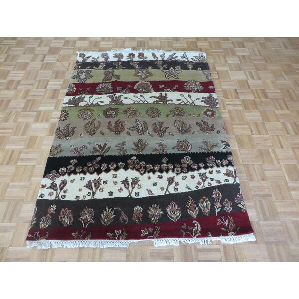 One-of-a-Kind Railey Hand-Knotted Red/Green Area Rug by Astoria Grand