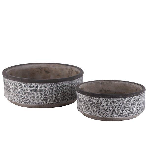 Kadlec Low Round Lattice Floral Design 4 Piece Cement Pot Planter Set by Bloomsbury Market