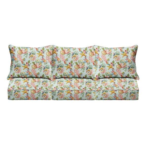 Seashells Starfish Indoor/Outdoor Sofa Cushion By Rosecliff Heights