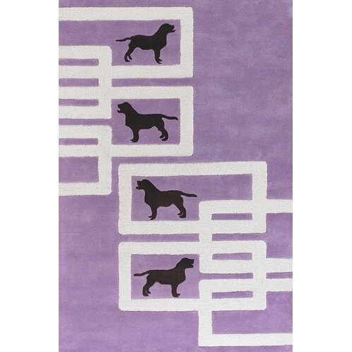 Valencia Dog Purple/White Novelty Rug by East Urban Home