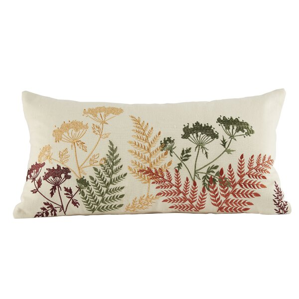 Fern Field Embroidered Lumbar Pillow Cover by Birch Lane™