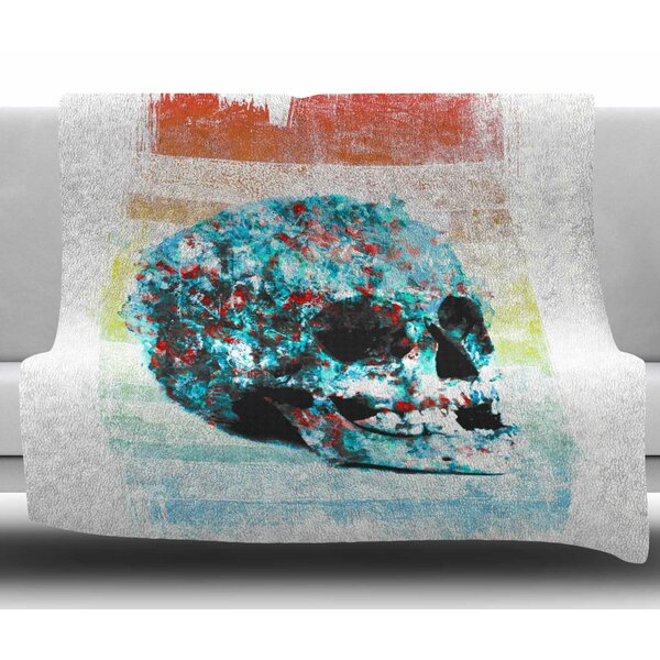 Floral Skully 2 by Frederic Levy Hadida Fleece Blanket by East Urban Home