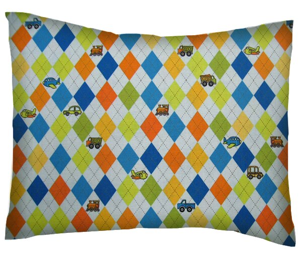 Argyle Transport Cotton Percale Pillowcase by Sheetworld