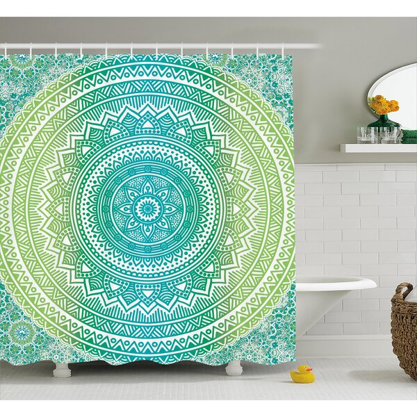 Leigh Teal and Lime Ombre Mandala Indian Pattern With Flower and Petals Hippie Style Art Shower Curtain by Bungalow Rose