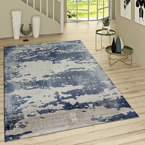 Rutherford Flatweave Blue/Grey Rug Borough Wharf Rug size: