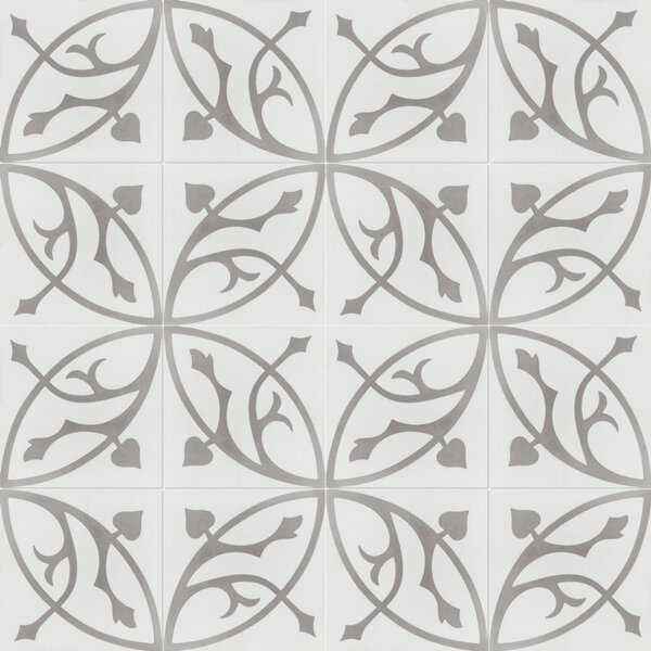 Boden H 8 x 8 Cement Field Tile in White/Gray by Villa Lagoon Tile