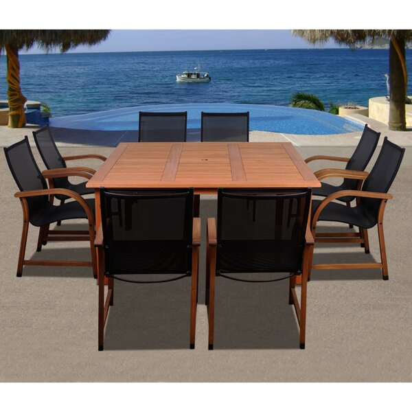 Trigg International Home Outdoor 9 Piece Dining Set by Highland Dunes