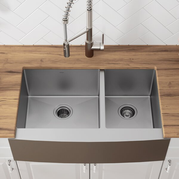 36 L x 21 W Double Basin Farmhouse Kitchen Sink with Drain Assembly by Kraus