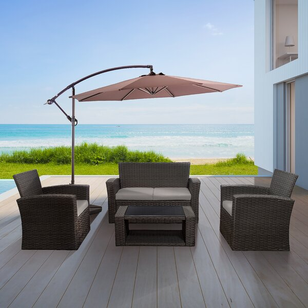 Alfonso 4 Piece Rattan Sofa Seating Group With Cushions By Highland Dunes by Highland Dunes Best Design