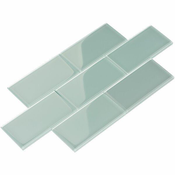 3 x 6 Glass Subway Tile in Baby Blue by Giorbello