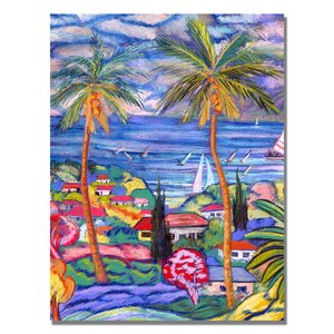 'Hawaii Wind Surf' by Manor Shadian Painting Print on Canvas by Trademark Fine Art