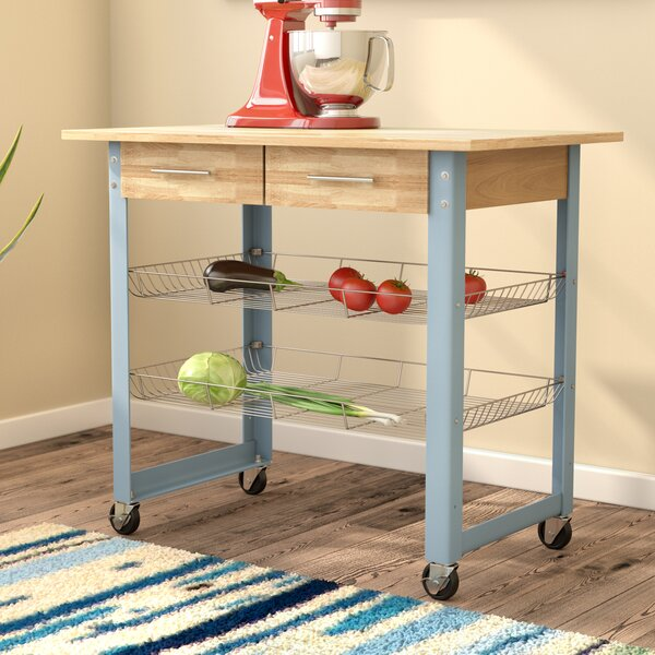 Mcdonald Kitchen Cart with Solid Wood Top by Latitude Run