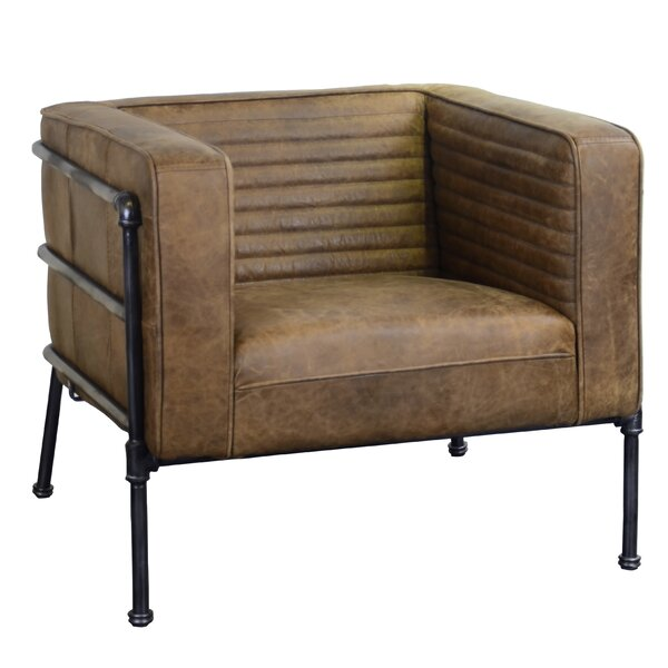 Shearer Channeled Leather And Metal Club Chair By 17 Stories Savings