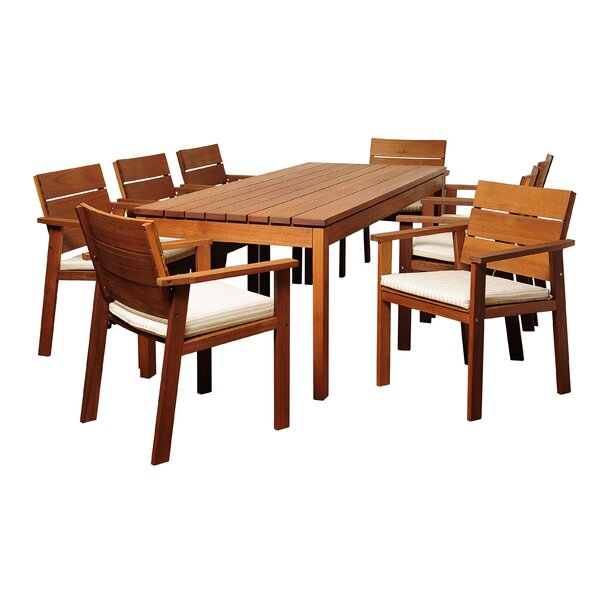 Bridgepointe Traditional Eucalyptus 9 Piece Dining Set by Rosecliff Heights