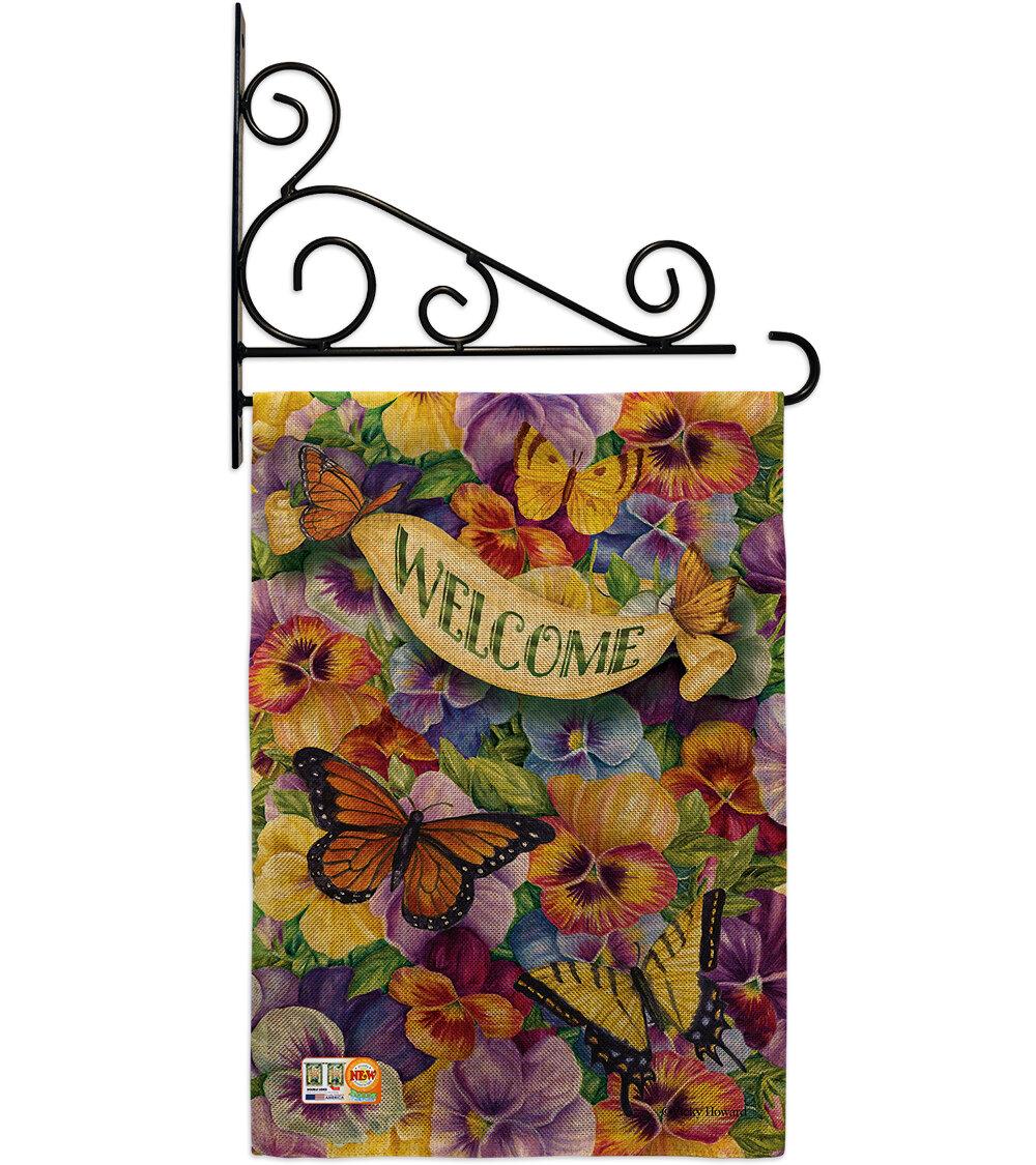 Breeze Decor Pansies With Butterflies 2 Sided Polyester 19 X 13 In Garden Flag Wayfair