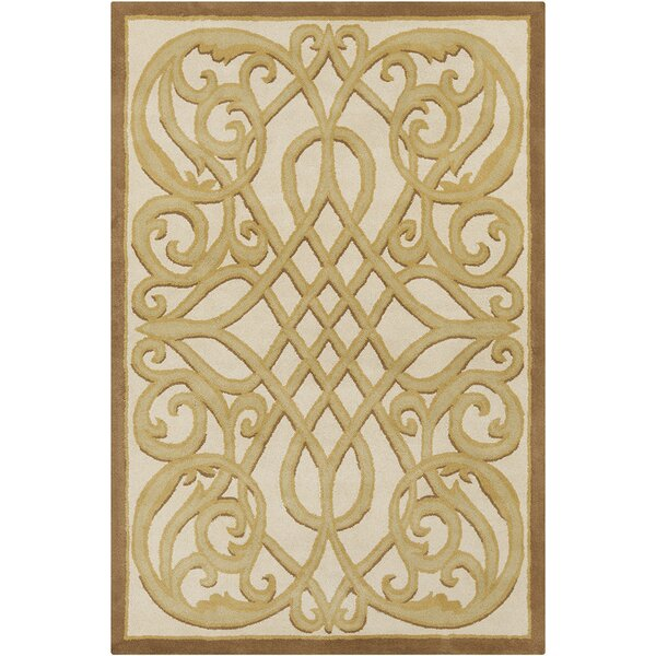 Jethro Hand Tufted Wool Cream/Gold Area Rug by House of Hampton