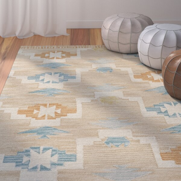 Pacifica Hand-Tufted Aqua/Sand Area Rug by Bungalow Rose