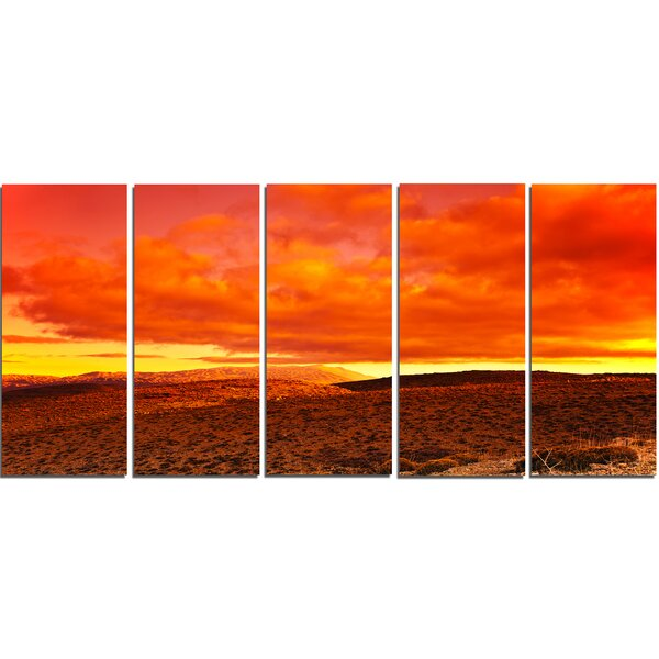 Dramatic Red Sunset at Desert 5 Piece Wall Art on Wrapped Canvas Set by Design Art