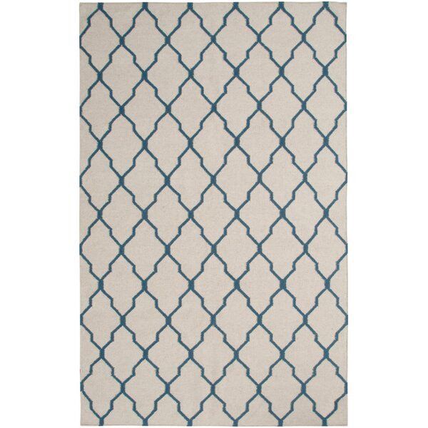 Hand-Woven Beige/Blue Area Rug by The Conestoga Trading Co.