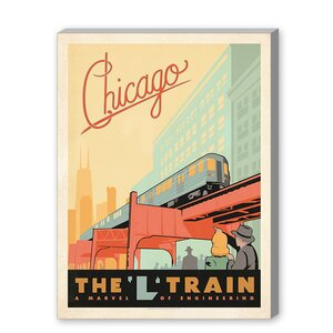 Chicago L Train Vintage Advertisement on Gallery Wrapped Canvas by East Urban Home