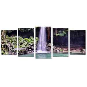 Waterfall by Christopher Doherty 5 Piece Photographic Print on Canvas Set by Ready2hangart