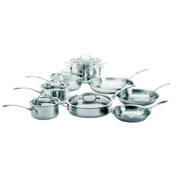 Tri-Ply Stainless Steel 13 Piece Cookware Set by Calphalon