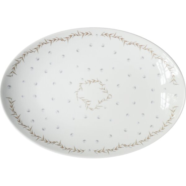 Lyndhurst Medium Porcelain Pearls Coupe Serving Platter by Rosecliff Heights