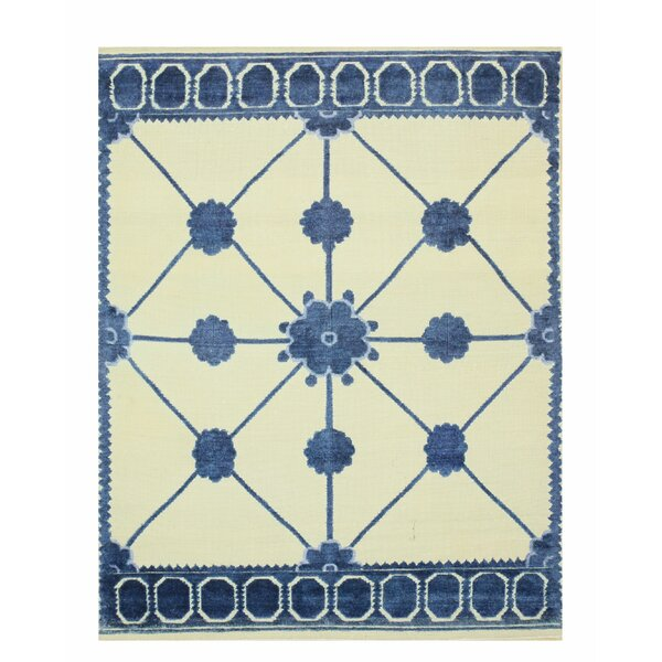 Lattice Hand-Knotted Beige/Blue Area Rug by Eastern Rugs
