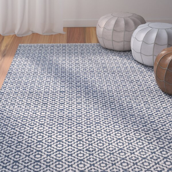 Hampden Hand-Woven Cotton Ivory/Navy Blue Area Rug by Bungalow Rose