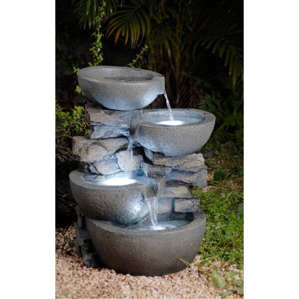 Resin/Fiberglass  Tiered Modern Bowls Fountain with LED Light by Jeco Inc.