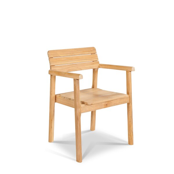 Jaylon Stacking Teak Patio Dining Chair (Set of 4) by Rosecliff Heights