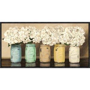 'Hydrangeas in Mason Jars' by Thomlinson Framed Painting Print by Global Gallery