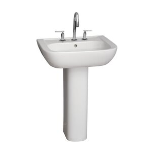Top Brands of Caroline Lavatory Vitreous China Pedestal Bathroom Sink with Overflow By Barclay