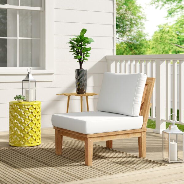 Elaina Teak Patio Chair with Cushions by Beachcrest Home Beachcrest Home